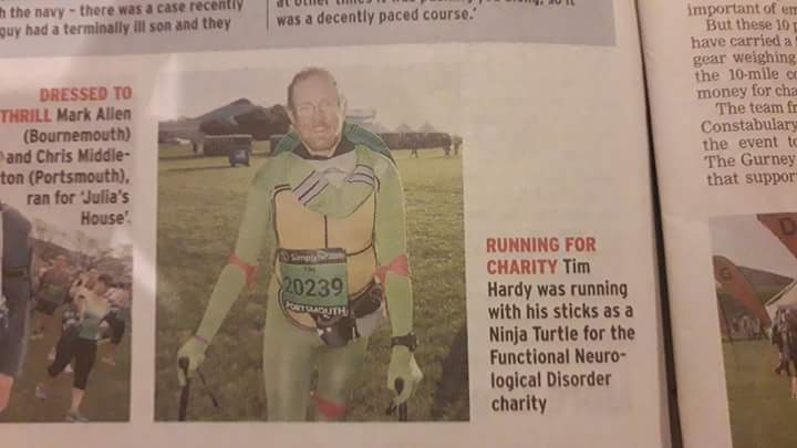 Tim's Ninja Turtle feat to raise awareness of FND at the Great South Run